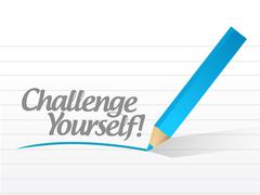 Stock Illustration of challenge yourself written on a white paper
