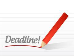 Stock Illustration of deadline written on a white paper