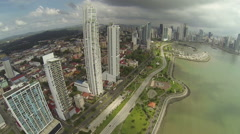 Aerial footage of the tip of Panama City Stock Footage