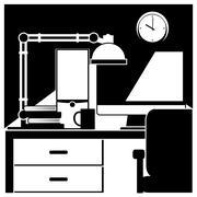 Desktop workstation black and white Stock Illustration