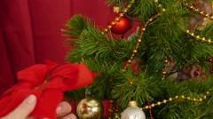Christmas tree Decorating Stock Footage