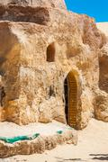 set for the star wars movie still stands in the tunisian desert near tozeur - stock photo