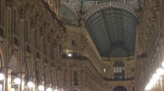 Beautiful interior Galleria Vittorio Emanuele II shopping mall decorative Milan  Stock Footage