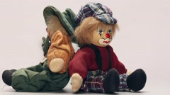 Toy clowns rotating - stock footage
