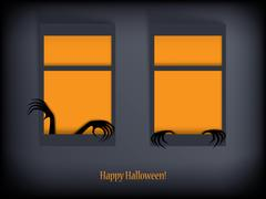 Halloween card vector illustration with scary hands and space for your text - stock illustration