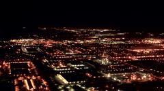 Night time aerial of Ontario, California - stock footage