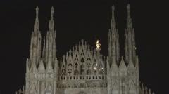Beautiful silhouette Duomo Cathedral Milan town landmark night decorative symbol Stock Footage