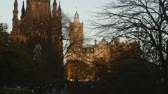 4K Scott Monument, Princes Street Gardens and Balmoral Hotel in Edinburgh Stock Footage