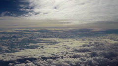 Flying in heaven clouds, peaceful fly in paradise, sun shines, click for HD - stock footage