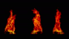 Fire pixelated three stacks Stock Footage