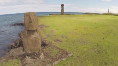 Easter Island Statues - Tahai 01 - Aerial Stock Footage
