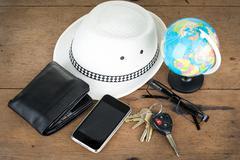 keys and world travel concept - stock photo