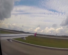 Airplane takeoff, ground speed-up air height getting higher day, click for HD - stock footage