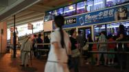 Stock Video Footage of People getting on the bus around Causeway Bay in Hong Kong, China