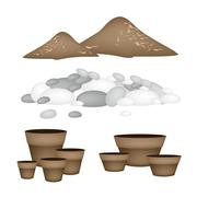 Terracotta Flower Pots with Soil and Pebble - stock illustration