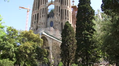 Gaudi church construction machinary Barcelona Stock Footage