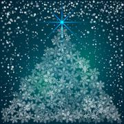 Vector Christmas and New Year Background with snowflakes - stock illustration
