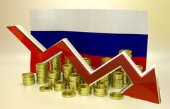 Currency collapse - Russian ruble Stock Illustration