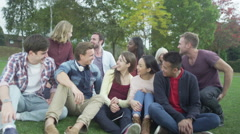 Happy close friends together outdoors Could be student group or young Christians - stock footage