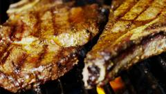 Stock Video Footage of Barbecue Grill Cooking Healthy Low Cholesterol Lean Meat T-Bone Steak Meal