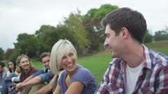 Stock Video Footage of Happy close friends together outdoors Could be student group or young Christians