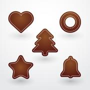 Baked christmas gingerbread Stock Illustration