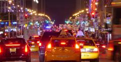 New York Traffic Manhattan at night NYC. Street perspective. 4K UHD Timelapse. Stock Footage