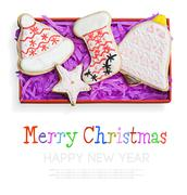 christmas gingerbread cookies - stock illustration
