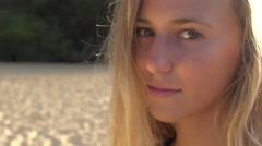 Pretty bikini model close up on Maui beach Stock Footage