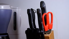 Woman Hands Taking A Knife, Kitchen, Food, Detail, Close Up Front Shot Stock Footage