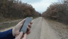 Navigation with smartphone Stock Footage