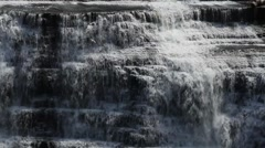Large waterfall, close up of white water, daytime, summer Stock Footage