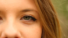 Beautiful Young Girl Looking At Camera, Extreme Close Up, Eyes Detail - stock footage