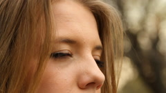 Beautiful Young Girl, Extreme Close Up, Eyes Detail, Green Eyes, Outdoors, Side - stock footage