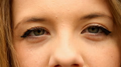 Beautiful Young Girl Looking At Camera, Extreme Close Up, Eyes Detail, Green - stock footage