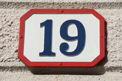 Number nineteen - stock photo