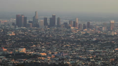 Timelapse of the downtown Los Angeles Skyline as the sun falls Stock Footage