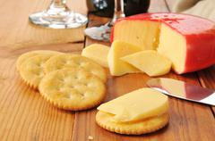 Gouda cheese and crackers Stock Photos