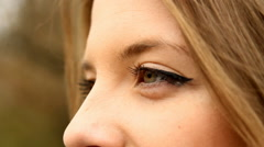 Beautiful Young Girl, Extreme Close Up, Eyes Detail, Green Eyes, Outdoors Side - stock footage