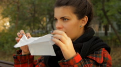 Beautiful Young Girl Blowing Her Nose, Sickness, Illness, The Flu, Portrait Pan Stock Footage