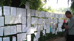 """The park's """"marriage wall"""", in Shenzhen, Chinese - stock footage"""