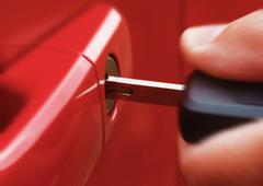 Key in red car Stock Photos