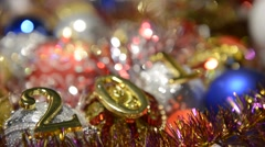 Fairytale Christmas composition with Christmas toys and the date of the new year - stock footage