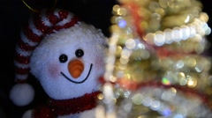 Fairytale Christmas composition with Christmas tree and snowman - stock footage