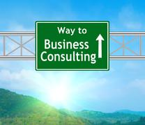 business consulting green road sign - stock illustration