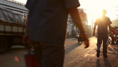 Workers walking to work at a factory in Thailand, Displaced workers from Myanmar Stock Footage
