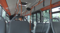 Interior inside empty bus view, public transportation on streets, modern vehicle Stock Footage