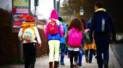 School kids with teachers in park Stock Footage