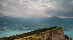 Sunshine Over Lake Thun from Niederhorn Stock Footage
