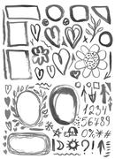 characters, frames, figures, heart, arrow black ink stains on a white backgro - stock illustration
